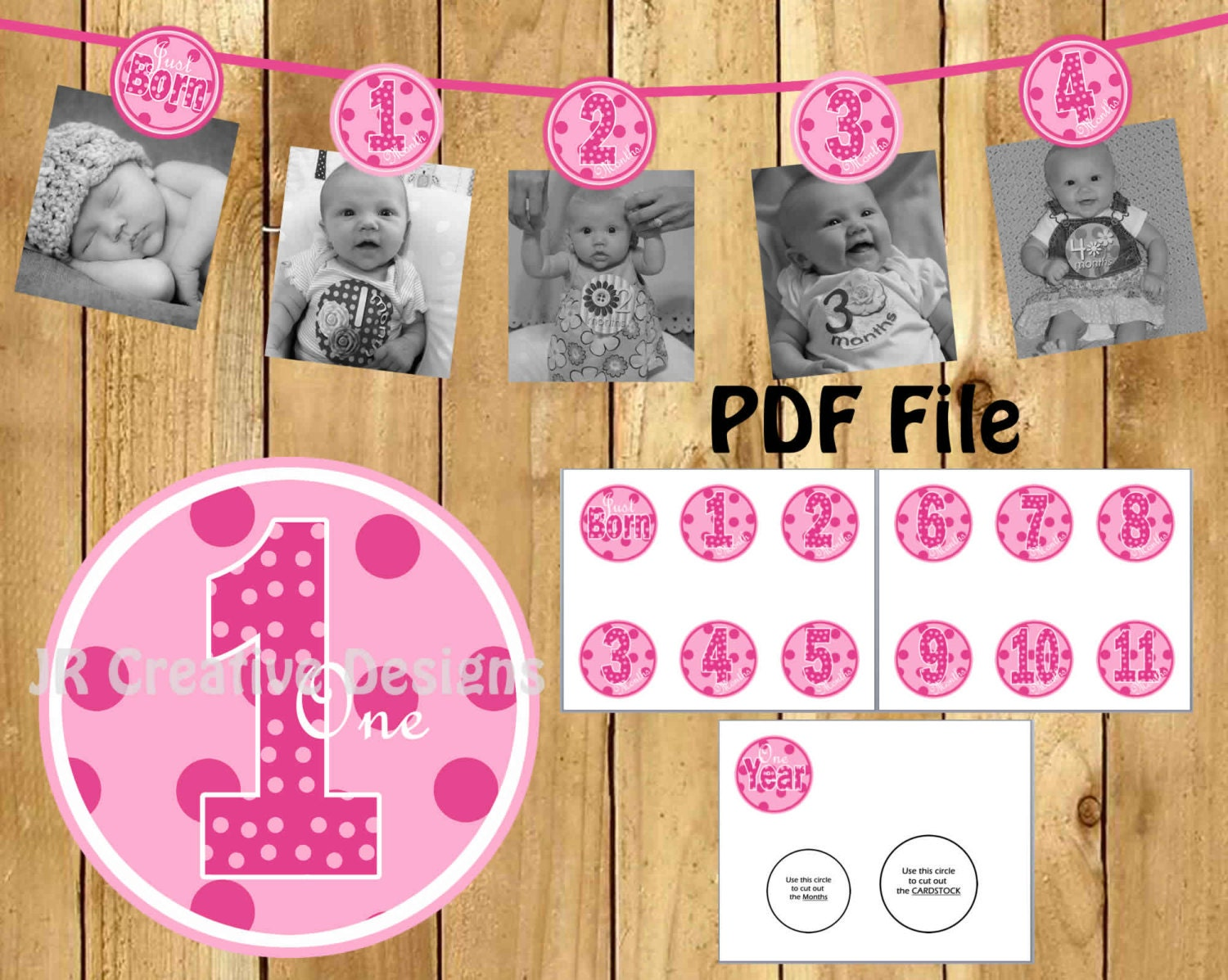 1 year photo banner girl 12 month picture birthday banner for 1st birthday girl decoration