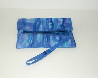 Zippered wristlet - Blue Batiks   - Clutch purse