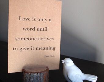 Paulo Coelho quote card, love card, Wedding, Engagement, Anniversary, valentine, blank card, card and envelope, wedding card, kraft card