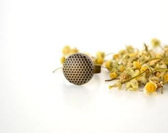 Honeycomb Ring Bee Jewelry Geometric Bronze Beehive Honey Comb Rustic