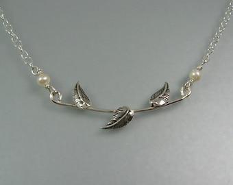Delicate vine necklace - sterling silver leaf necklace - elven jewelry - nature inspired woodland forest necklace - botanical bride necklace