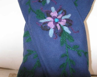 Navy Blue Wool Scarf with Needle Felted Flowers