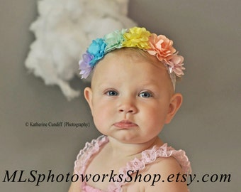 30% OFF Sale on Fairy Princess Flower Crown in Pastel Rainbow Color Palette - Baby Girl Flower & Lace Headband - Photography Prop Crown
