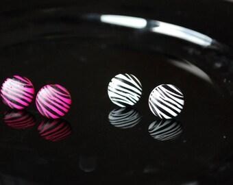 Zebra Earrings -- Zebra Print Studs, Zebra Studs, You choose the color!