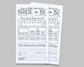 Bridal Shower Comment Card in Black  - Instant Download PDF