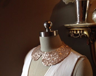 Rose Gold Sequin Peter Pan Collar Necklace with Jewelry Closure Back