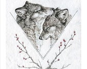 Wolf art print -  8X10 inch animal illustration reproduction