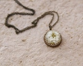 Real flower necklace - handmade resin jewelry - brown rustic pendant with Achillea ptarmica