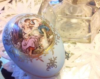 Vintage Porcelain Box Egg Shape Trinket box, Robins Egg Blue, Hinged, Jewelry Box