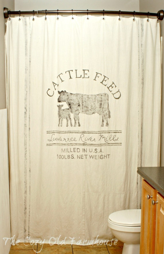 Custom Made Feed Sack Canvas Shower Curtain