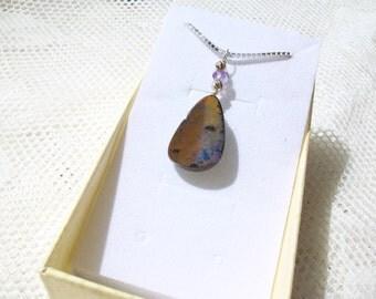 "Boulder Opal Necklace  "" Lunar Landscape II "" 14.50 Carats, Wire Wrapped Bail, Australian Opal, Natural Opal"