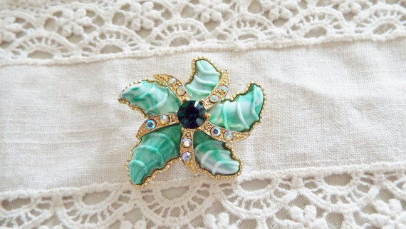 Vintage Starfish Brooch Aqua Enameled, Lots of Bling, High End, Quality