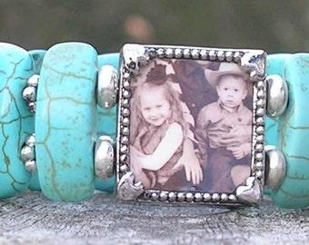 Turquoise Photo bracelet, Mother's Bracelet Gift for Mom Grandmom bracelet, Memory Keepsake Custom photo Jewelry Southwestern Style bracelet