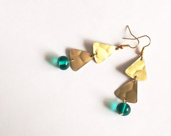 golden long triangle teal earrings with handblown glass beads