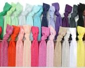 Fabric HairTies (30 ties) Hair Tie Bracelets - Knotted Yoga Elastic Hair Ties - Like Emi Jay Hair Bands - Women's Cute Hair Accessories