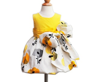 Special Ceremony Dress - With Large Bow Bash - Wedding - Formal - Baby Clothing - Birthday Photo - Baptism - KK Children Designs - 6M to 7