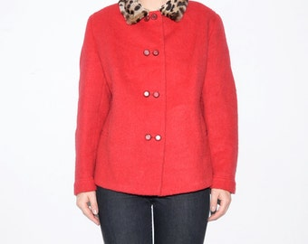 Vintage red wool jacket with leopard fur collar / women outerwear
