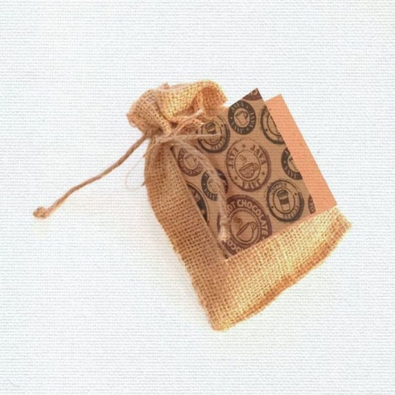 Burlap GIFT BAG + TAG set / Coffee Hot Chocolate Gift Cards Cash or Candy