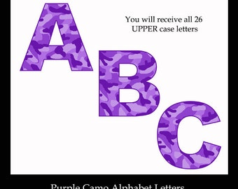 PURPLE CAMO LETTER Clipart Digital Printable Alphabet Art Graphics Design Scrapbook Embellishment Scrapbooking Teacher Abc Clip Art Decor