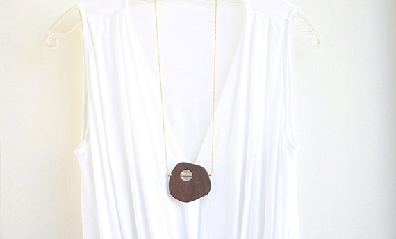 One-of-a-kind wood and gold pendant necklace; Handmade wooden pendant necklace; Wooden pendant necklace; Free shipping