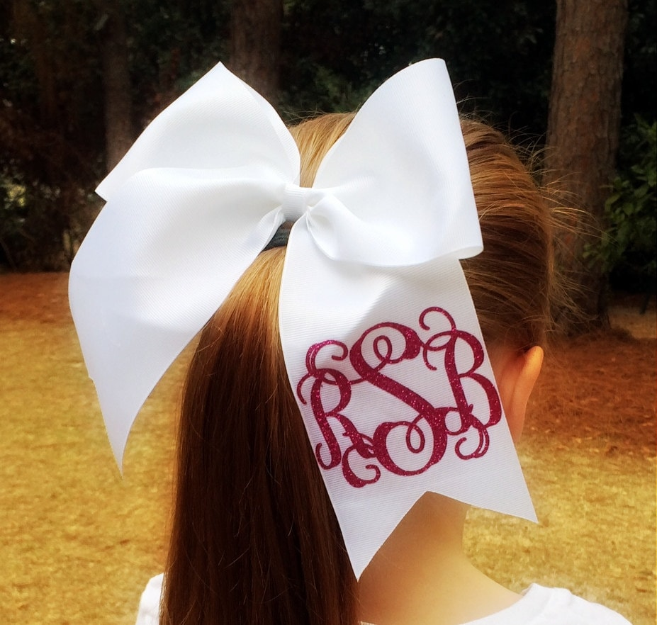hair bows glitter monogram cheer bow monogrammed hair bow
