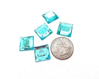 16mm Aqua Blue Square Flat Back Rhinestones, Teal Square Acrylic Rhinestones, 16mm Acrylic Square Rhinestones, No Holes, 5 Pieces