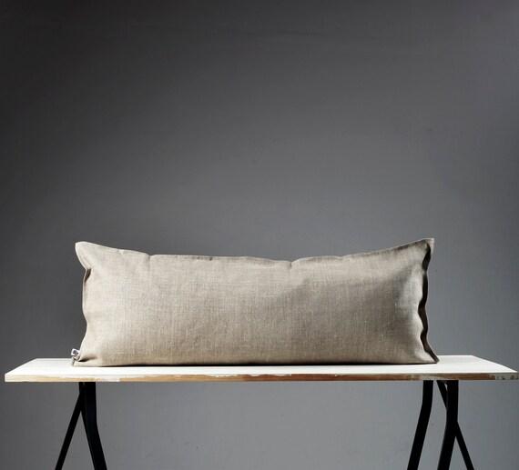 Lumbar pillow cover  - Gray natural linen fabric pillowcase - accent linen pillow - bolster - environment throw pillows   0053