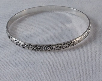 Sterling Silver Bangle Bracelet with Swirls and Flowers Pattern Gift Box Free Shipping