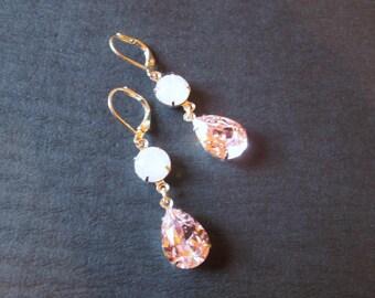 Pale Pink Swarovski Crystal Drop Earrings/Rosaline and Pink Opal Earrings/ Bridesmaid Jewelry/ Crystal Earrings/ Bridesmaid Gift/ Wedding