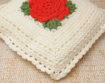 Mid Century Crocheted Throw Pillow Red Roses White
