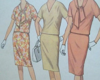 Vintage 1960s Tie Collar, Kimono Sleeve, Two Piece Dress Pattern Simplicity 4881 Size 14 Bust 34