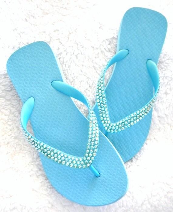"Aquamarine Custom Crystal Wedge Heel Flip Flops Something Blue Sky 1.5"" Sandals w/ Swarovski Crystal Rhinestone Jewel Bling Beach Thong Shoe"