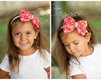Coral Bow Headband. Baby Headband. Girl Headband. Newborn Headband. Photo Prop.