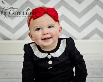 Red Bow Headband. Baby red Bow Headband. Red Headband. Baby Headband. Newborn Headband. Girl Headband. Toodler Headband. Photo Prop.