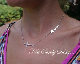 Sideways Name Necklace With CZ Cross- Personalize It With YOur Name or Initials - Sterling Silver, Rose Gold or Yellow Gold