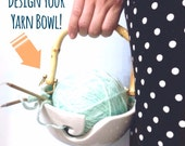 Design Your Handle Yarn Bowl Your Choice Of Colors Porcelain Pottery Yarn Keeper Yarn Feeder Knitting Bowl Stunning  MADE TO ORDER