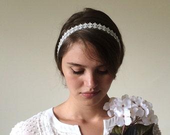 Bridal Headwrap, Rhinestone Headband, Boho Headband, Lace Hairband, Embroidered Headpiece, Wedding Headband, Woman's Gift, Hair Jewelry