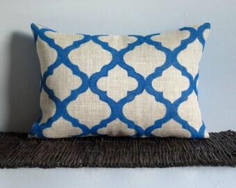 Moroccan Pillow Cover, Burlap Lumbar Pillow, 12x18 Trellis Lattice, Decorative Pillow Cover