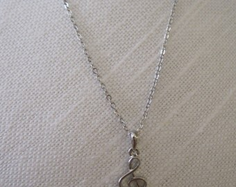 Silver Music Note Necklace - Silver Tone Music Note Necklace