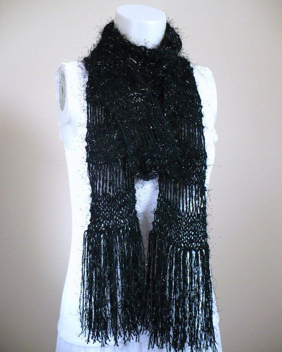Black Scarf with Fringe, Extra Long Scarf, Hand Knit Skinny Scarf, Scarf, Woman's Fashion Scarf, Handmade in the USA