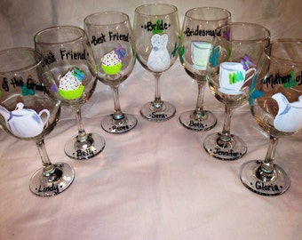 Bridal Shower Tea Party, Wedding Wine Glasses Hand Painted Personalized, Bridesmaid Gift, Maid of Honor Gift, Bride Glass, Wedding Gift
