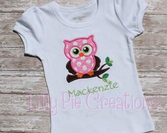 Owl Girls Shirt, Girls Owl Shirt, Owl Birthday Shirt, Owl Baby Shower, Made to Order, Sizes 0-3 mos to Girls Size 10