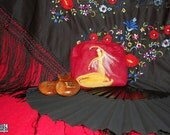 Felted purse with flamenco dancer silhouette, red and yellow, nedle felted, polka dot lining, unique gift for flamenco lover, ooak