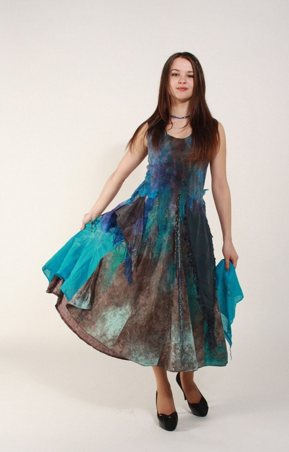 Felted dress ocean blue brown bohemian wedding dress by for Ocean blue wedding dress