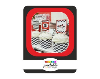 INSTANT DOWNLOAD Motorcross Motorcycle Printable Cupcake Toppers & Cupcake Wraps - Please Read Description Thoroughly