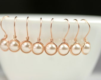 Set of 4-10 Rose Gold Pearl Earrings Bridal Pearl Earrings Bridesmaids Earrings Bridesmaids Gifts Rose Gold Earrings Rose Gold Creamrose