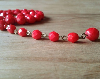 60's Glass Necklace Red Bead Strand