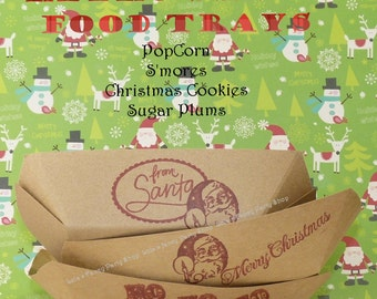 Christmas Snack Trays / Hand Stamped Party Supply 24 Ready To Serve Trays -Popcorn, Cookies, Smores, Candy Bar, Santa  Favors, Craft Supply