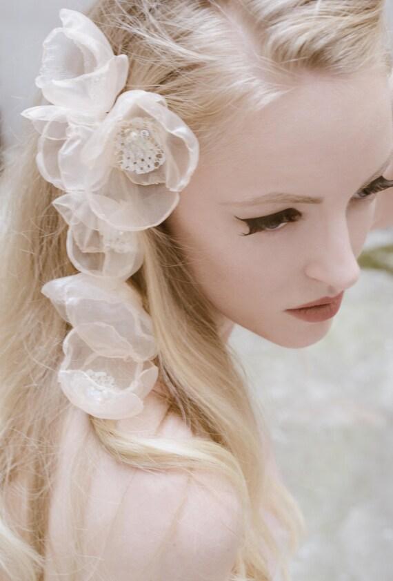 Bridal Headpiece Fairytale Flower Bridal Hair Clips Set of 6 Pastel Peach Hair Flower Pins Weddings Hair Accessories Bridesmaid Hair