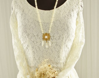 1952 All Lace Mid Century Wedding Dress Bridal Gown with Long Sleeves SZ. LG